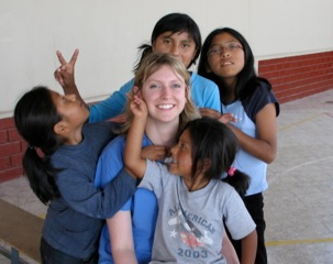 Sarah with the orphan children she loves.
